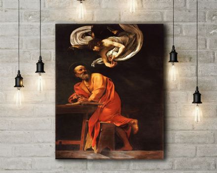 Caravaggio: The Inspiration of Saint Matthew. Fine Art Canvas.